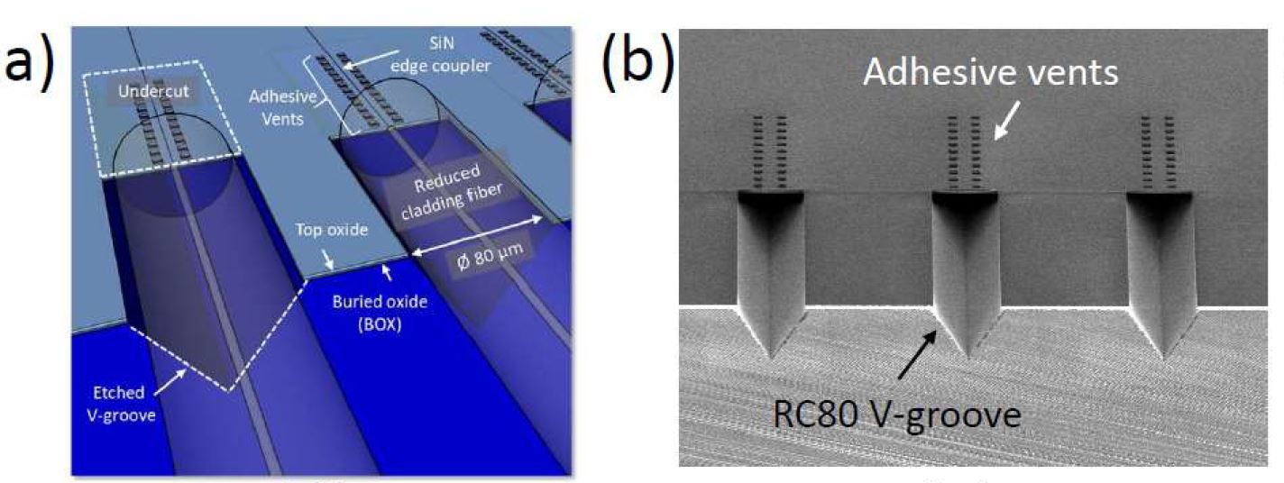(a) Schematic and (b) SEM image of SiN edge couplers (as presented at 2019 ECOC).