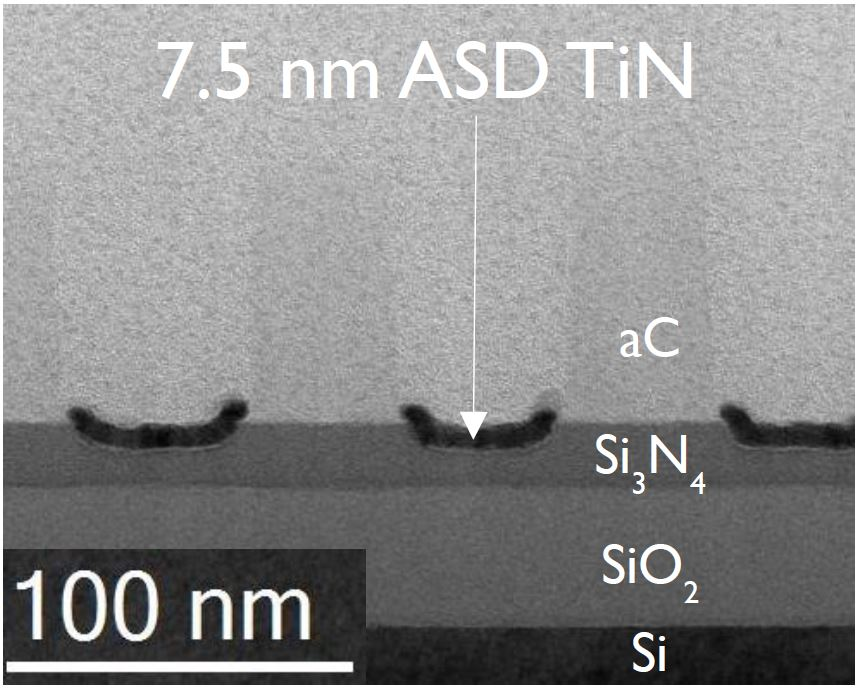 7.5nm thick TiN, selectively deposited on Si3N4 (spaces) with ALD. aC (lines) act as the non-growth area.