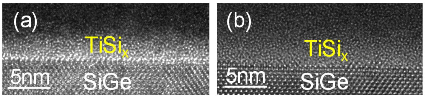 Cross-sectional TEM of an ultrathin co-deposited TiSi on SiGe ((a) before and (b) after 1 min at 450°C in N2).