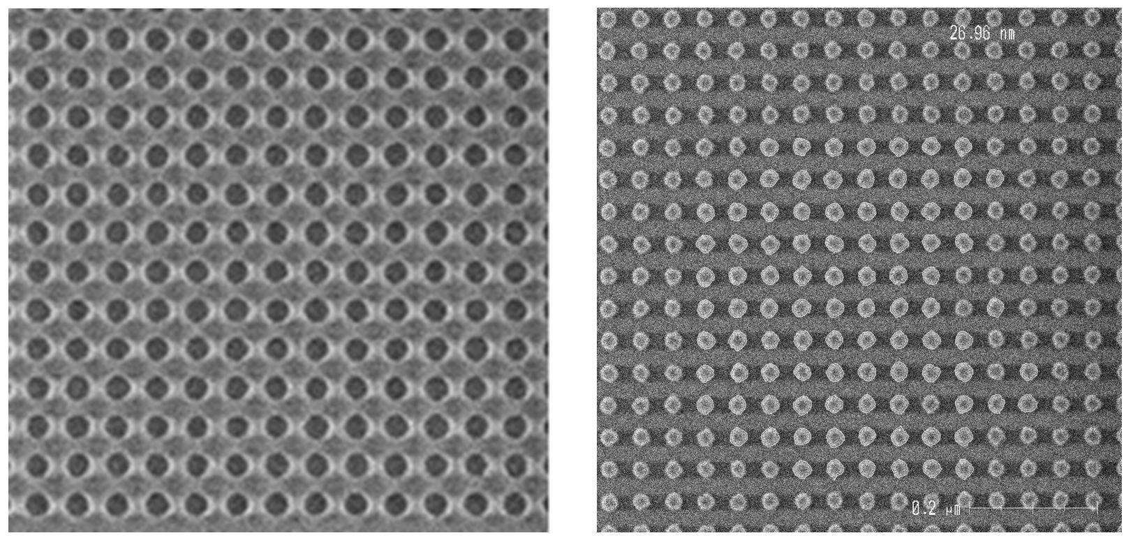 Illustration of the tone reversal process: (left) holes obtained with a positive tone CAR resist and (right) pillars obtained after tone reversal (as presented at 2019 SPIE Advanced Lithography).