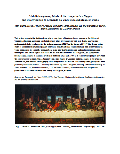 A Multidisciplinary Study of the Tongerlo Last Supper and its attribution to Leonardo da Vinci's Second Milanese studio