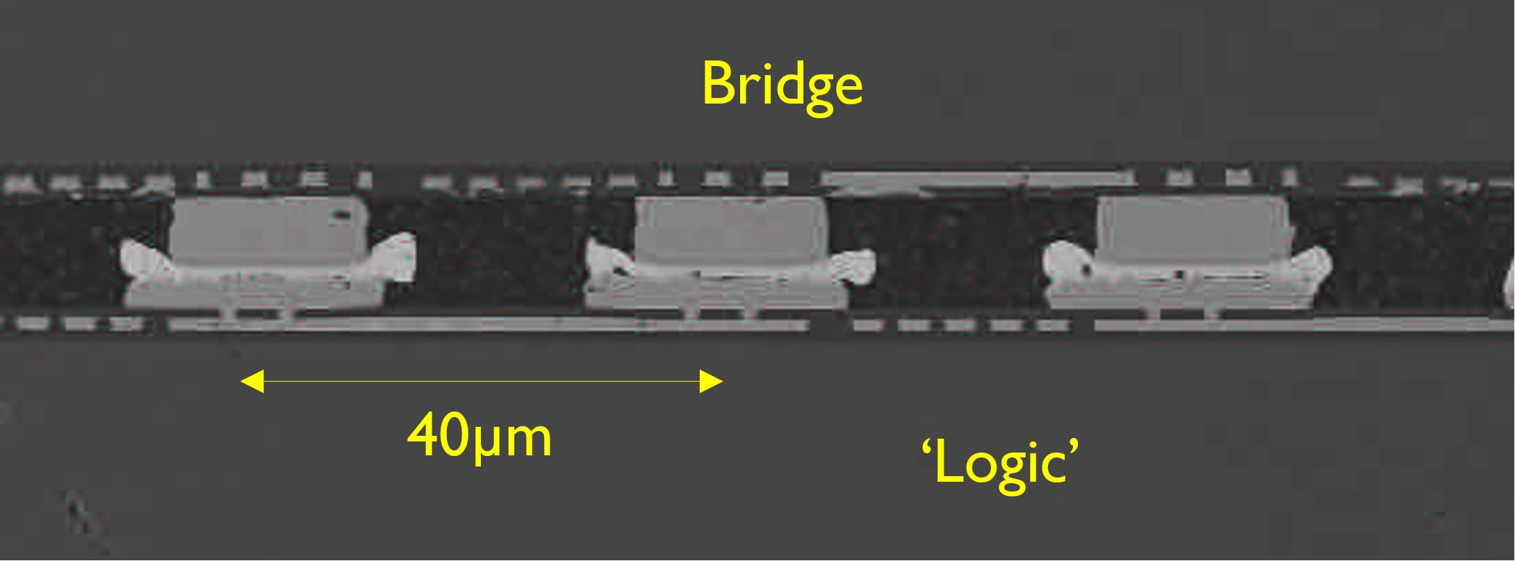 Illustration of the successful bridge-to-logic bonding at 40µm pitch, compatible with 20µm pitch microbump assembly.