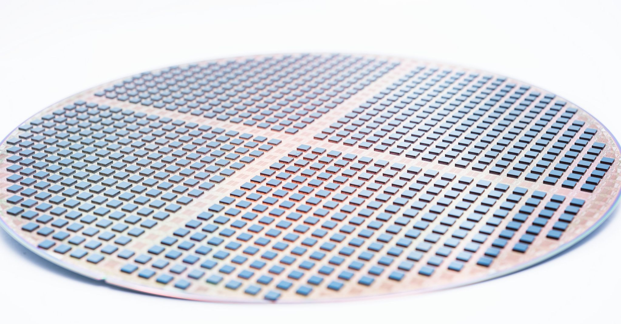 3D stacked IC: processed wafer with chips stacked on top using a die-to-wafer process.